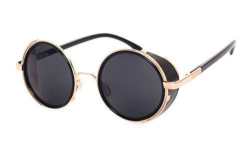 DLSM Steampunk Sonnenbrille Frauen Runde Brille Brille Männer Seitenvisier Kreis Linse Unisex Vintage Retro Style Punk Beach Sonnenbrille Fahrbrille-Goldrahmen graue Linse
