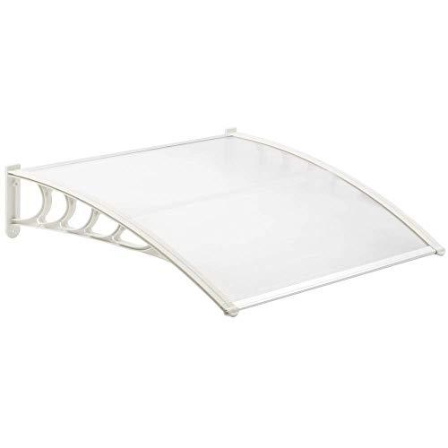 PrimeMatik - Tejadillo de protección 150x90 cm Transparente. Marquesina para Puertas y Ventanas con Soporte Blanco