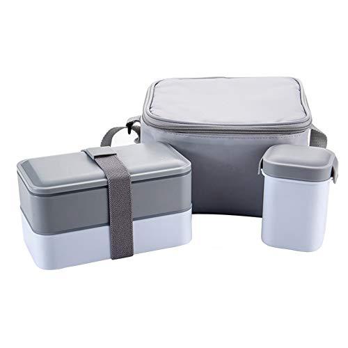 Boîte à Bento à Double Couche Ensemble de Boîtes à Lunch Japonaises avec Bol à Soupe, Conteneur Alimentaire Thermique Isolé Micro-ondable