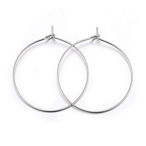 Cheriswelry 100 anillos de cristal de vino de 30 mm, pendientes de aro para hacer joyas, color acero inoxidable