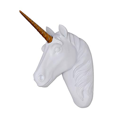 Unicorn Head Wall Mount White Unicorn Head Sculpture With Gold Horn...