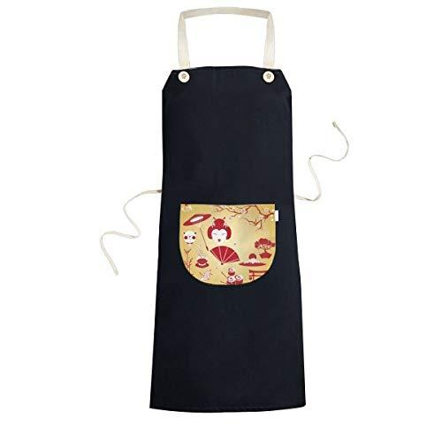 Japan Cultuur Rood Geel Wit Beker Sushi eetstokjes Geisha Lucky Kat Boogschutter Karper Paraplu Bamboe Sakura Illustratie Patroon Koken Keuken Zwarte Bib schorten Met Pocket voor Vrouwen Mannen Chef Geschenken