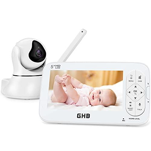 GHB Babyphone mit Kamera 5 Zoll LCD HD 720P Gegensprechen ECO Weitwinkelobjektiv Nachtsicht Schlaflied Zoom Funktion