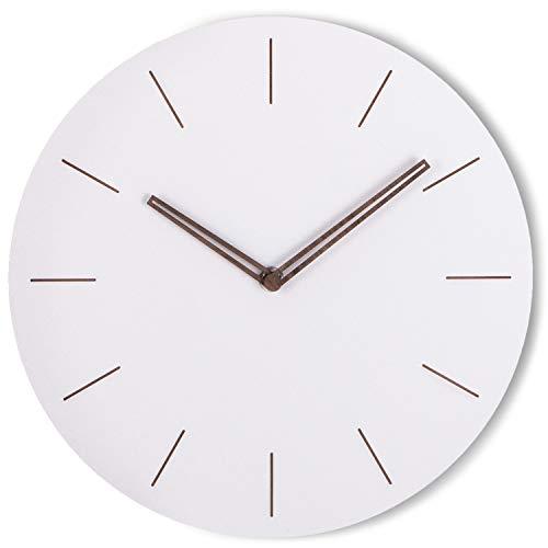 wonea - Wanduhr aus Holz in weiß mit Quarzuhrwerk, Zeiger aus Holz, analog ohne Tick Geräusche, lautlos Wanduhr Quarz Uhrwerk ohne Sekundenzeiger, modern Ziffernblatt ohne Zahlen matt weiß, 29cm rund