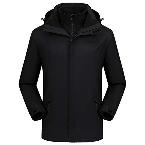 CAMEL CROWN Men's Ski Jacket 3 in 1 Waterproof Winter Jacket Snow Jacket Windproof Hooded with Inner Warm Fleece Coat Black