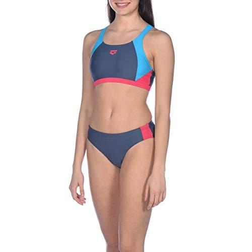 ARENA Damen Sport Bikini Ren, Shark-Turquoise-Freak Rose, 40