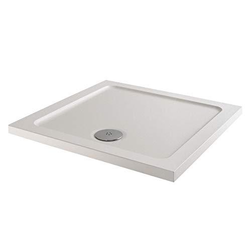 800x800mm Shower Tray Square Low Profile Premium Anti-Slip Free High Flow Waste