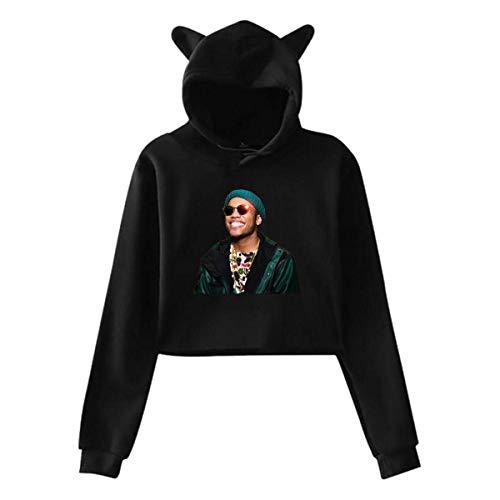 Lawenp Anderson Paak Women's Girls Cute Long Sleeve Hoodie Cat Ear Hoodie Sweater All Match Black