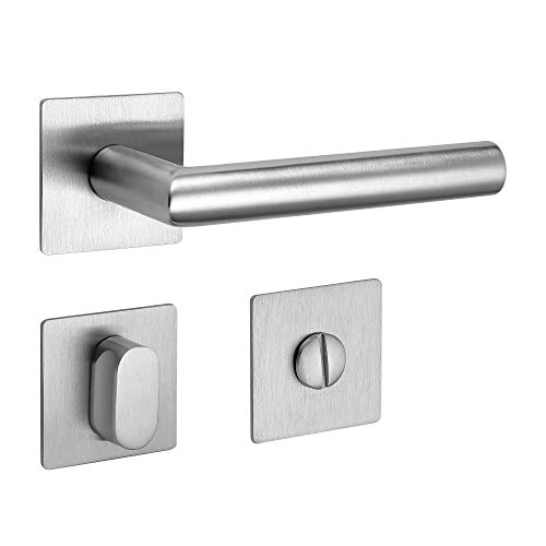 Drückergarnitur New Orleans Q | 3 mm Magnet-Flachrosette | festdrehbare Lagerung | V2A Edelstahl matt | WC/Bad