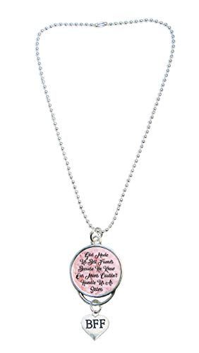 God Made Us Best Friends Silver Rearview Mirror Charm with BFF Charm