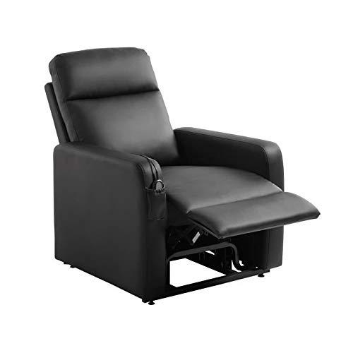 RELAX Fauteuil releveur de relaxation électrique - Simili noir - Classique - L 76 x P 88 cm