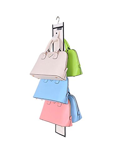 WJL Hanging Handbag Closet Organizer Purse Storage with 10 Hooks and Swivel Hanger Five Colors are Available