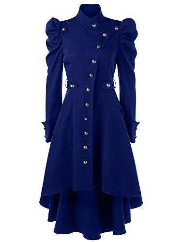 Donna Vintage Cappotto Lungo - retrò Steampunk Gotico Vittoriano Giacca Moda Manica Lunga Giacce Costume Top