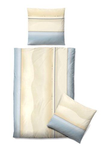 Biberna 0072021 Juego de Cama con Fundas de Almohada Satén de algodón mako 1x 155x220 cm + 1x 80x80 cm, Azul