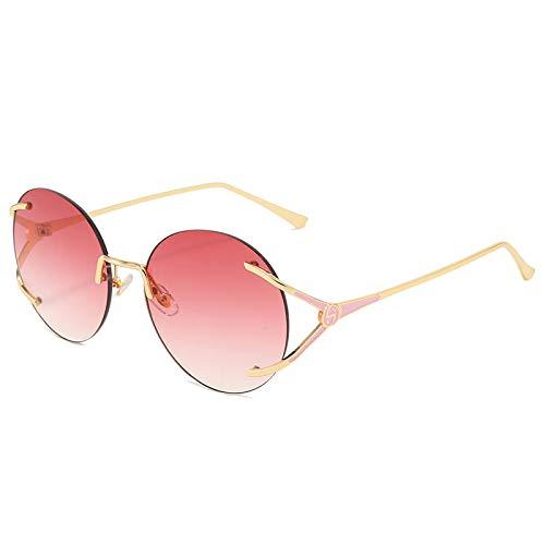QINGZHOU Gafas de Sol,Gafas de sol de moda simples para mujer, gafas sin montura, gradiente de dos tonos, lentes de alta definición, gafas de sol de cara redonda, polvo gradualmente púrpura