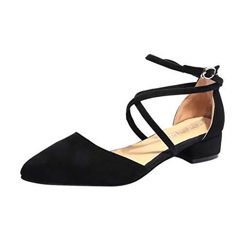 Sandalias para Mujer Verano 2019 Tacon Bajo Ancho PAOLIAN Zapatos de Punta Fiesta Elegantes Bodas Sandalias Vestir Casual Dama Tallas Grandes 35-41 EU