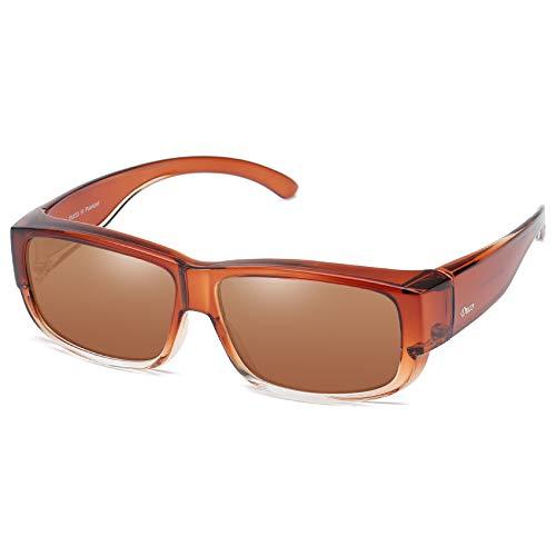 DUCO Unisex polarisierte Sonnenbrillen Überziehbrille Fit-Over Brille Korrekturbrille RX Brille 8956 (Braun)