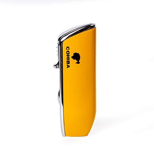 Feuerzeug mit Dreifach-Düse und integriertem Lochschneider Gelb
