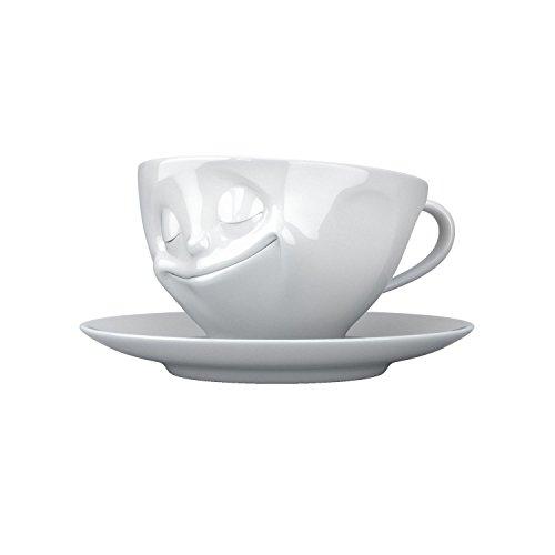 FiftyEight T014301 Kaffee-Tasse glücklich Hartporzellan 200 ml, weiß
