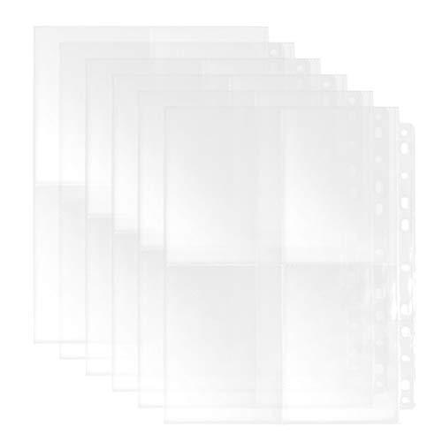 perfect line 100 fundaCarpetas segmentadas A4 transparentes YOTINO, 100 bolsillos perforados transparentes divididos en 4 segmentos de inserción en la parte superior para su conveniencia