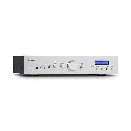 auna AMP-CD608 DAB HiFi Stereo-Amplifier Verstärker, Ausgangsleistung: 4 x 100 Watt RMS an 4 Ohm, 2 Stereo-Boxen-Ausgänge, DAB+ Radio, Bluetooth, Optischer Eingang, AUX-In, CD-In, DVD-In, Silber