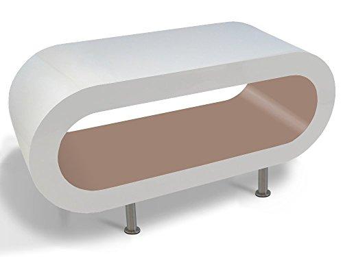 Zespoke Design Bianco Lucido e Cappuccino Cerchio caffè Supporto da Tavolo/TV in Varie Dimensioni