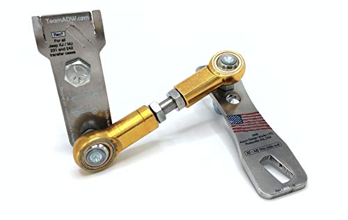 Azzy's Design Works Transfer Case Linkage kit, fits Jeep Cherokee XJ & Comanche MJ - Easy install version (Stainless Steel)