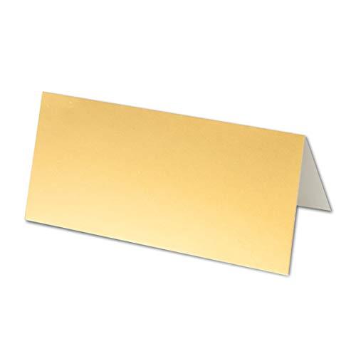 50x Tischkarten in Gold Metallic - 4,5 x 10 cm - 250 g/m² - blanko Doppel-Karten mit stabilem Stand - ideal als Platzkärtchen und Namenskärtchen