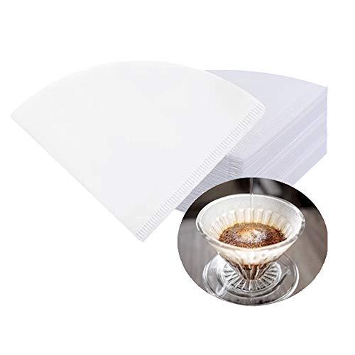 CUNYA - Filtri monouso per caffè #4, in carta naturale non sbiancata V60, filtro a cono per casa, ufficio, migliore degustazione, versando sopra i gocciolatori (bianco)