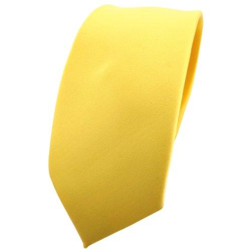 TigerTie schmale Satin Krawatte in gelb hellgelb zinkgelb einfarbig uni