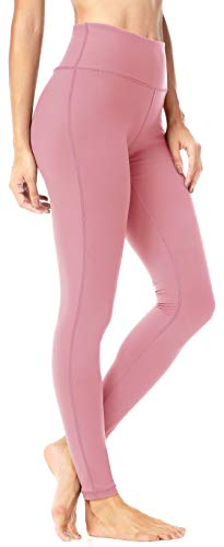 QUEENIEKE Women Mid-Waist Hidden Pockets Sport Legging Yoga Pants Running Tights Size S Color Begonia Pink