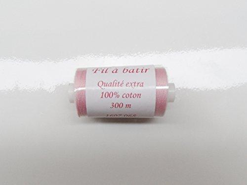 ILC MERCERIE PARADIS Bobine DE Fil A BÂTIR Jaune/Rose/Bleu/Blanc au Choix 100% Coton 300 MÈTRES (Rose)