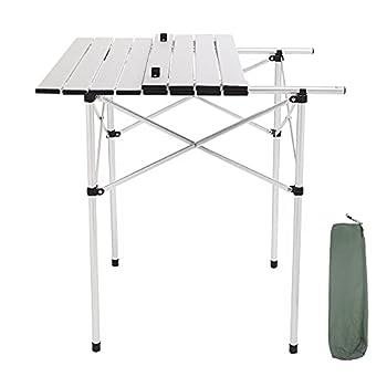 Table Camping Pliante Aluminium Table D'appoint pour Caravane Jardin BBQ Barbecue en Portable Exterieure Auteur Réglable Gris 70 x 70 x 70 CM