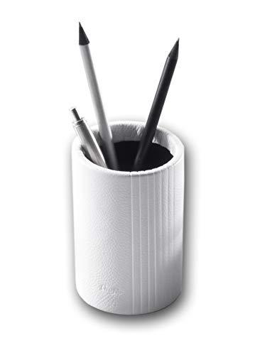 Läufer Ambiente LA LINEA 39077 - Barattolo portapenne, in vera pelle, ø 7 x 10 cm, colore: bianco