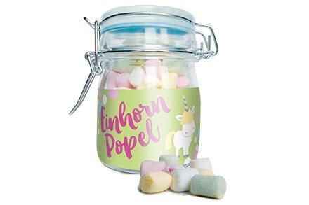 Einhorn Popel im Weckglas, Mini Marshmallows, ca. 25 Gr.
