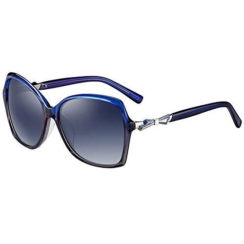 Gafas de sol polarizadas HD para mujer, marco tridimensional, diseño de lazo con lazo (color: azul)