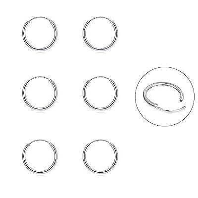 Silver Hoop Earrings- Cartilage Earring Endless Small Hoop Earrings Set for Women Men Girls,3 Pairs of Hypoallergenic 925 Sterling Silver Tragus Earrings Nose Lip Rings (10mm3)