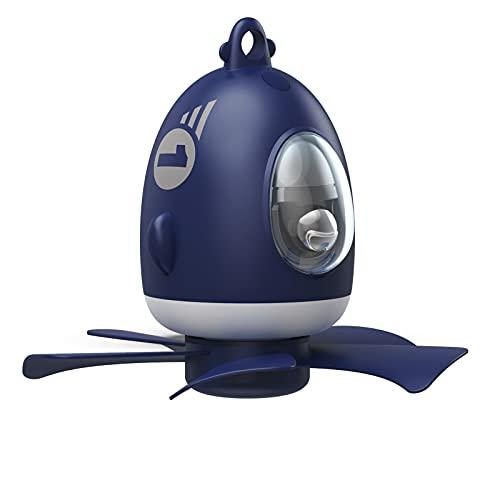 Ventilador mejorado, ventilador de techo de avión pequeño, ventilador de luz nocturna, control de aplicación de ventilador de techo de dormitorio doméstico con ajuste de 4 velocidades y recargable