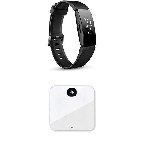 Fitbit Inspire HR, Pulsera de salud y actividad física con ritmo cardiaco, Negro + Báscula Aria Air Scales, Unisex-Adult, Blanco