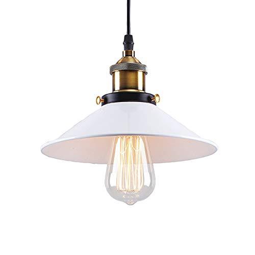 Modern Métal Suspension Lampes de Plafond Abat-Jour, E27 Industrielle Luminaires Blanc Lustre éclairage Design,Blanc (22cm)