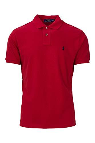Ralph Lauren Polo Mens Custom Slim Fit Mesh Polo T-Shirt (M, RL2000 RED)