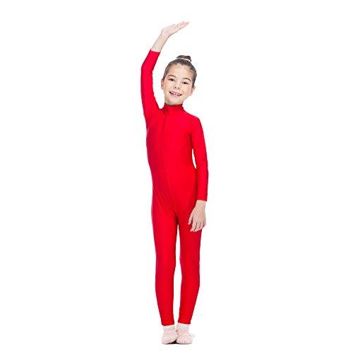 Girls Unitard Gymnastics High Neck Ankle Length Dance Bodysuit Dancewear (XS, Red)