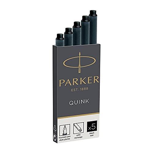 Parker Quink recambios para plumas estilográficas, cartuchos largos, tinta negra, caja de 5