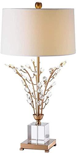 APXZC Lámpara de Mesa Lámpara de Mesa de Estilo Europeo Cristal Creativo Lámpara de Escritorio de Bronce para Hotel Sala de Estar Café Luz de Lectura Dormitorio Lámpara de Noche Clásico