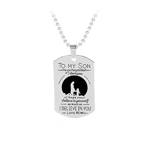 BCDZZ Collar con colgante de etiqueta de lengua de amor con texto en inglés 'To My Son Love Mum', para festivales de cumpleaños, para hombres y niños