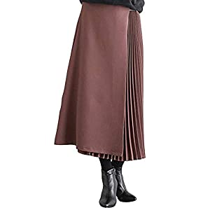 [エアバイ] ミモレ丈 サイドプリーツ スカート とろみ きれいめ ベルト付き アシンメトリー ロングスカート 長め サーキュラースカート ボックスプリーツスカート プリーツスカート ギャザースカート 光沢 サテン ヒラヒラ 綺麗なドレス スカート膝丈 フレアースカート 可愛いスカート ムラサキ エンジ ピンク 変形 腰巻 アシメ レザー ベルト ミモレ 切り替えスカート 紫 A101-PUL