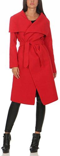 Malito Damen Mantel lang mit Wasserfall-Schnitt | Trenchcoat mit Gürtel | weicher Dufflecoat | Parka - Jacke 3040 (rot)