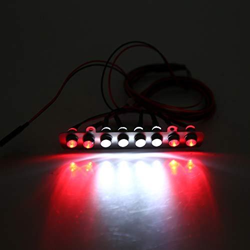 Dilwe RC Auto LED Lichtleiste 8 LEDs Lichtleiste Weiß Rot Rücklicht Lampe Zubehörteil für TRAXXAS UDR 1/7 LKW Fernbedienung Autos