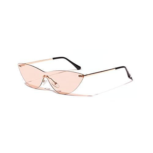 XIHUANNI Gorra de Beisbol Europa sin fronteras Siameses Gato-Ojo Femenino Gafas de Sol Retro Gafas de Espejo de Color Rosa Transparente UV (Color : Tea)