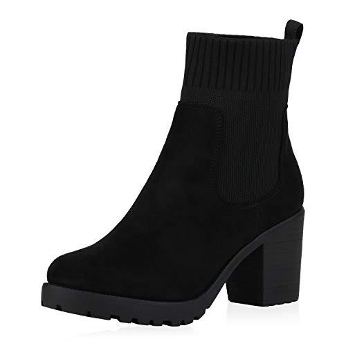 SCARPE VITA Dames Slip Enkellaarzen Makkelijk Gevoerde Laarzen Sock Laarzen Blokhak Schoenen Touw Mid Heel Booties
